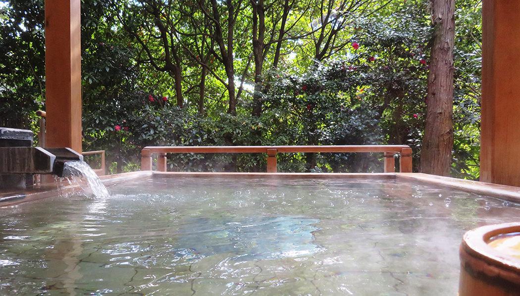 1427年、室町時代より滾々と勇出する長門湯本温泉。当館の温泉大浴場は、なだらかな山裾の渓流側の一角にございます。1階と2階それぞれ趣の異なる大浴場の湯舟は、合わせて11通り。時間帯で男湯・女湯を入れ替えてございます。風が運ぶ木々の香り、せせらぎの音、そして小鳥たちのさえずり。さあ、美肌の湯ともいわれるアルカリ性の柔らかなお湯に身も心もゆだねてくださいませ。