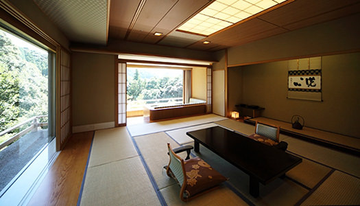 Deluxe Japanese-style Room with Jacuzzi (15 tatami mat-size / mountain stream-side)